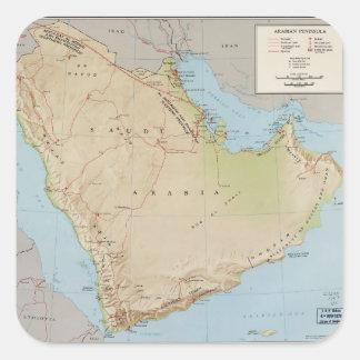 Map of the Arabian Peninsula (1969) Square Sticker