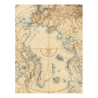 Map of the Arctic and Adjacent Regions (1855) Postcard