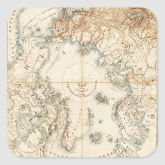 Map of the Arctic and Adjacent Regions (1855) Square Sticker