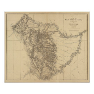 Map of the Black Hills of Dakota Poster
