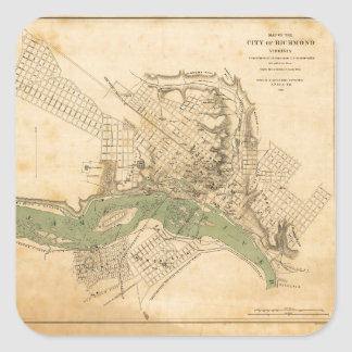 Map of the city of Richmond, Virginia (1858-1864) Square Sticker