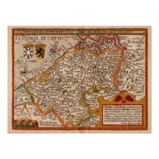 Map of the County of Flanders by Matthias Quad Poster