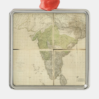 Map of the East Indies with the Roads (1768) Silver-Colored Square Ornament