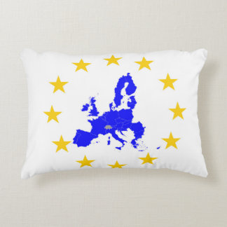 Map of the European union with star circle Decorative Pillow
