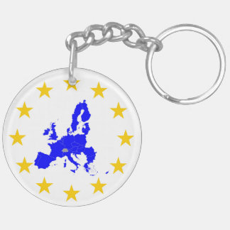 Map of the European union with star circle Keychain