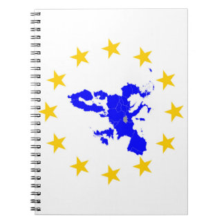 Map of the European union with star circle Notebook