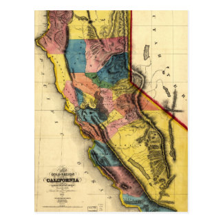 Map of the Gold Region in California (1851) Postcard