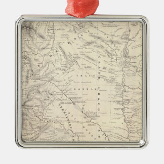Map of the Great Chaco and neighboring regions Silver-Colored Square Ornament