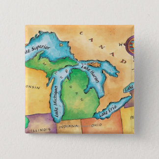 Map of the Great Lakes 2 Inch Square Button