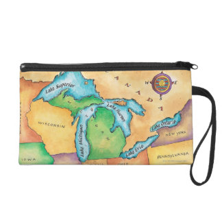 Map of the Great Lakes Wristlet