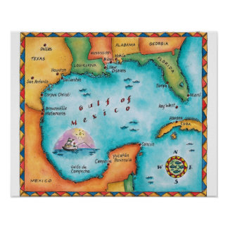 Map of the Gulf of Mexico Poster