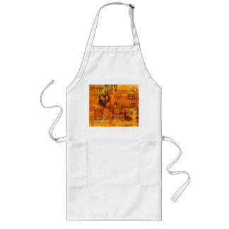 Map of the Heart Valentine (Flame Orange) Long Long Apron