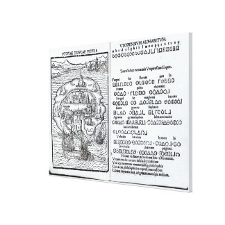 Map of the Island of Utopia and its Alphabet Canvas Print