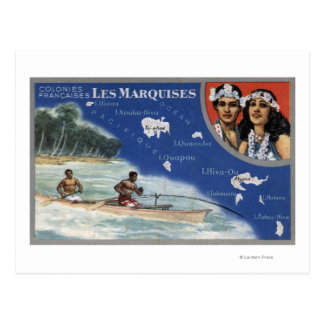 Map of the Islands, Natives in a Canoe Postcard