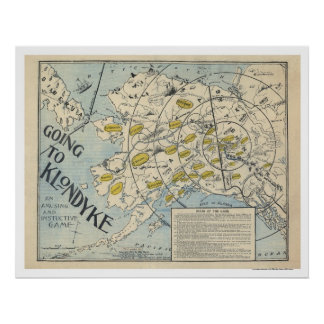 Map of the Klondyke from a Board Game 1897 Poster
