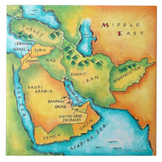 Map of the Middle East Ceramic Tiles