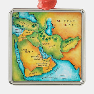 Map of the Middle East Silver-Colored Square Ornament