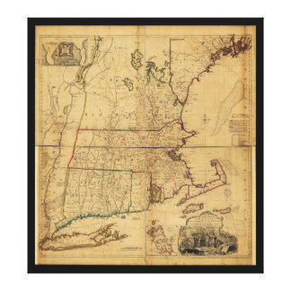 Map of the Most Inhabited Part of New England 1755 Canvas Print