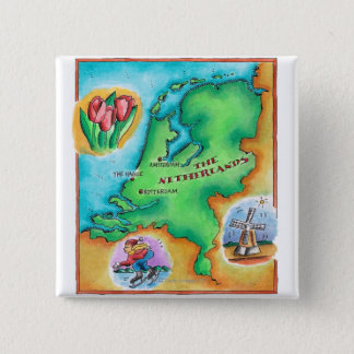 Map of the Netherlands 2 Inch Square Button