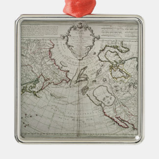 Map of the New Discoveries Silver-Colored Square Ornament