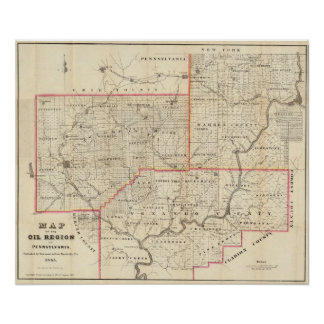 Map of the Oil Region of Pennsylvania Poster