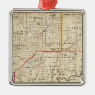 Map of the Oil Region of Pennsylvania Silver-Colored Square Ornament