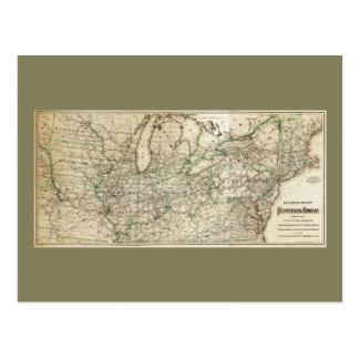 Map of the Pennsylvania Railroad (1871) Postcard
