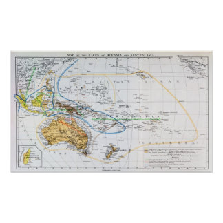 Map of the races of Oceania and Australasia Poster