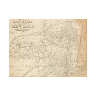 Map of the rail-roads of the state of New York Canvas Print