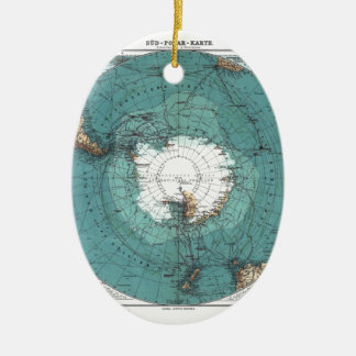 Map of the South Pole Ceramic Ornament