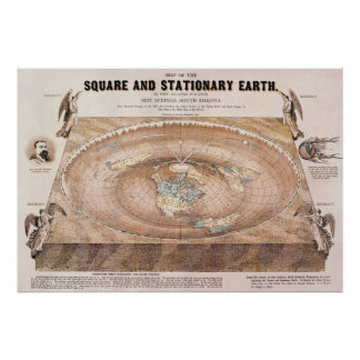 Map of the Square and Stationary Earth by Fergn Poster