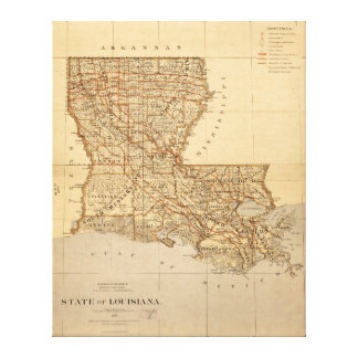 Map of the State of Louisiana (1876) Canvas Print