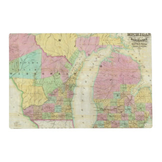 Map of the State of Michigan Laminated Place Mat