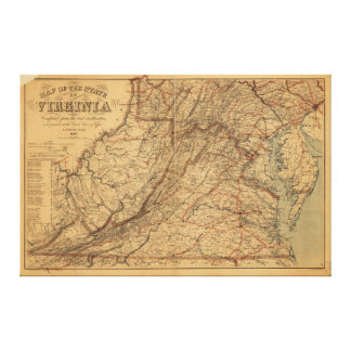 Map of the State of Virginia (1865) Gallery Wrap Canvas
