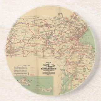 Map of the Street Railways of Massachusetts 1913 Coaster