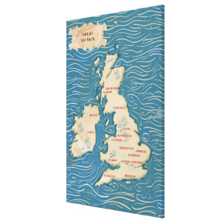 Map of the United Kingdom Vintage Poster Canvas Print