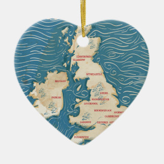 Map of the United Kingdom Vintage Poster Ceramic Ornament