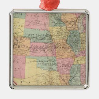 Map of the United States and Territories Silver-Colored Square Ornament