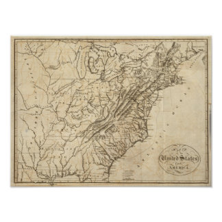 Map of the United States of America 2 Poster