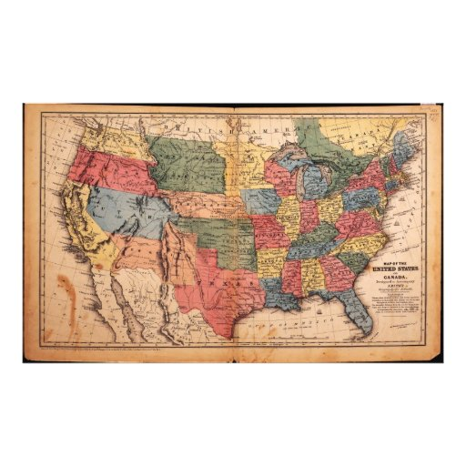 Map of the United States of America in 1853 Art Photo