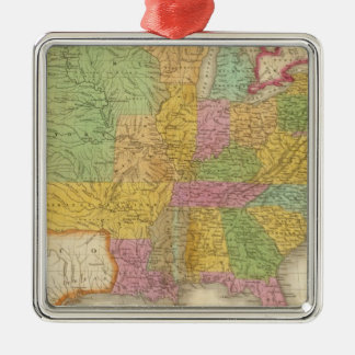 Map of The United States Silver-Colored Square Ornament