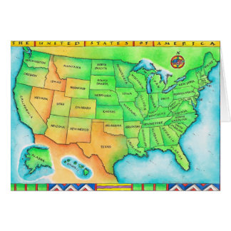 Map of the USA Card
