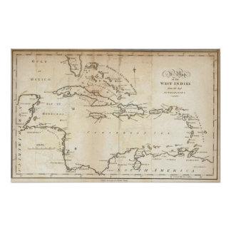 Map of the West Indies 2 Poster