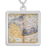 Map of the world, 1486 silver plated necklace