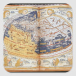 Map of the world, 1486 square sticker