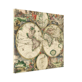Map of the World 1689 - by Gerard Van Schagen Canvas Print