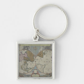 Map of the World 16 Silver-Colored Square Keychain
