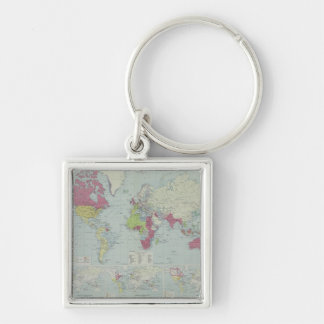 Map of the World 20 Silver-Colored Square Keychain