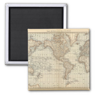Map of the World 2 Square Magnet