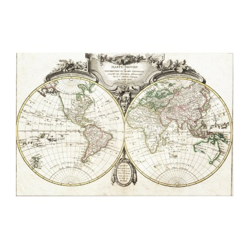 Map of the world by Jean Janvier, 1775 Canvas Gallery Wrapped Canvas